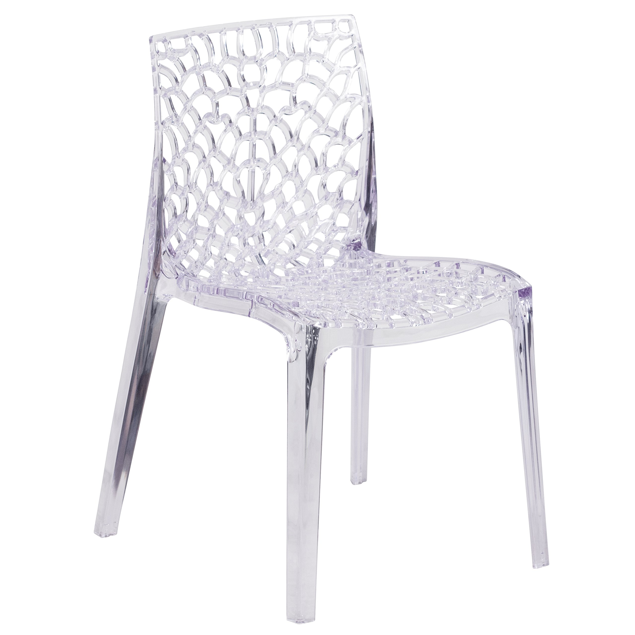 Flash Furniture FH-161-APC-GG Vision Series Transparent Stacking Side Chair, 1 Pack