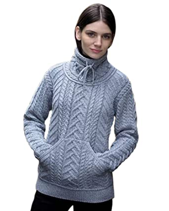 d00357bf35f West End Knitwear Irish Cowl Neck Merino Wool Sweater at Amazon ...
