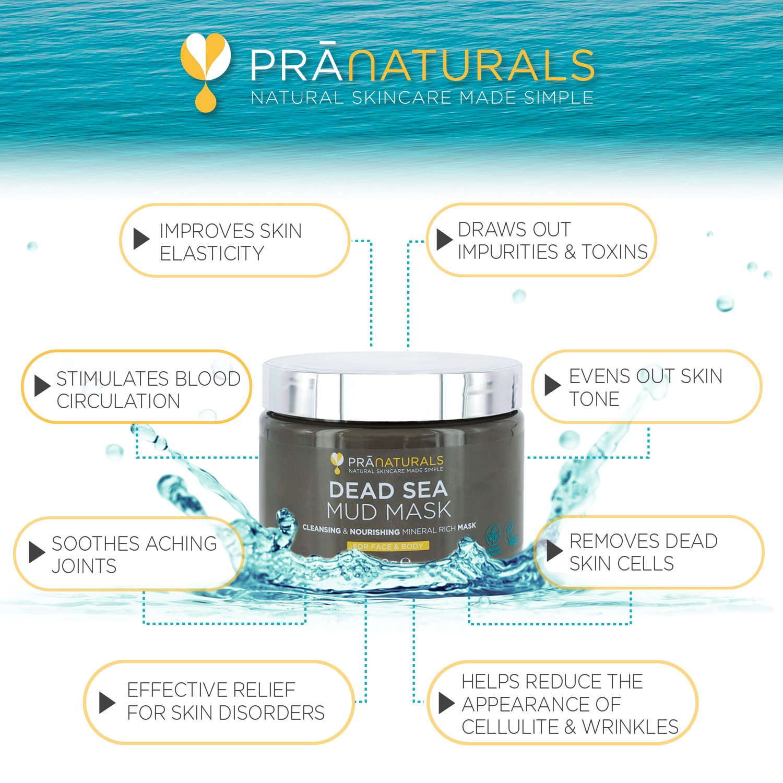 PraNaturals 550g Mascarilla Facial y Corporal 100% Natural y Orgánica con Barro del Mar Muerto, Rica en Minerales Nutritivos, Hidrata y Desintoxica la Piel, ...