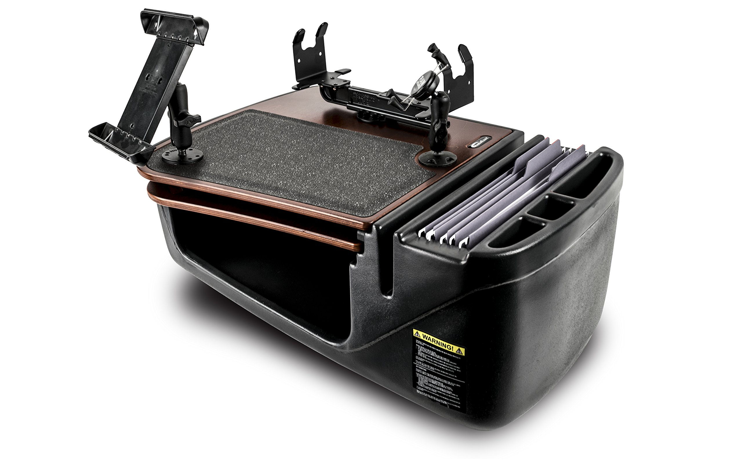AutoExec AUE19300 GripMaster Car Desk (Mahogany Finish with Built-in Power Inverter, Printer Stand, X-Grip Phone Tablet Mount)