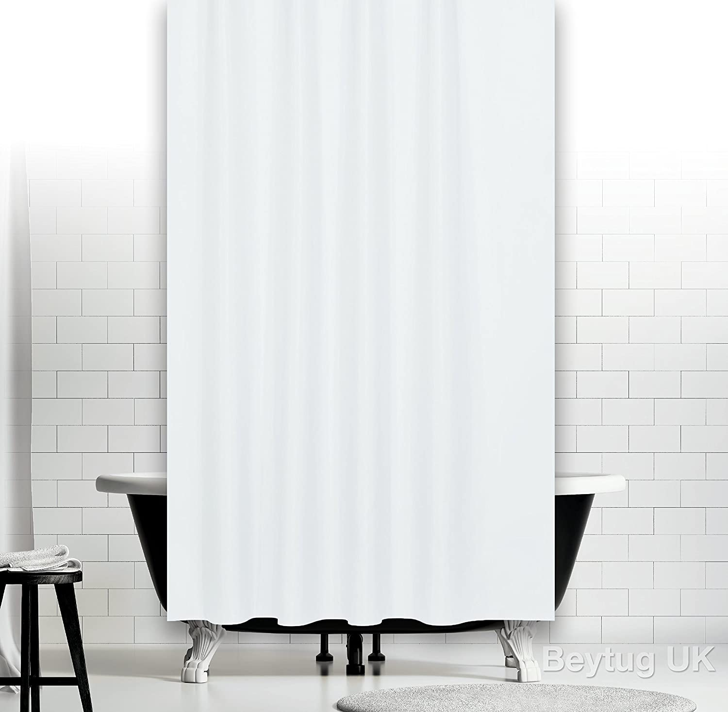 Bespoke size extra long plain white fabric shower curtain 180CM ...