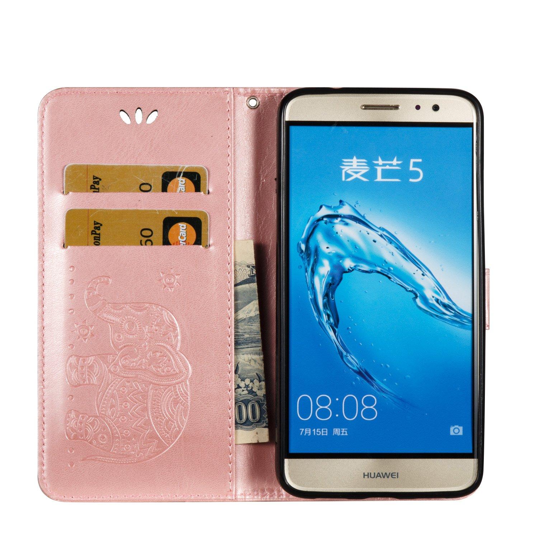 kompatibel mit Huawei Nova Plus H/ülle,Huawei Nova Plus Lederh/ülle Schutzh/ülle Leder Tasche Flip Case,Pr/ägung Elefant PU Leder Brieftasche Flip H/ülle Kunstleder Wallet Tasche Cover,Rose Gold