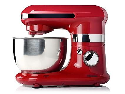 Tristar MX-4170 Robot de cocina con bol de acero inox, 4.0 L, 600 W, 4 litros, Inoxidable, 6 Velocidades, Rojo