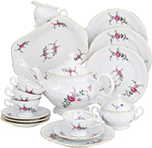 Wawel Tea with Grace European 16-Piece Fine China Tea Set for Children (Rose Garden) - Service for Four