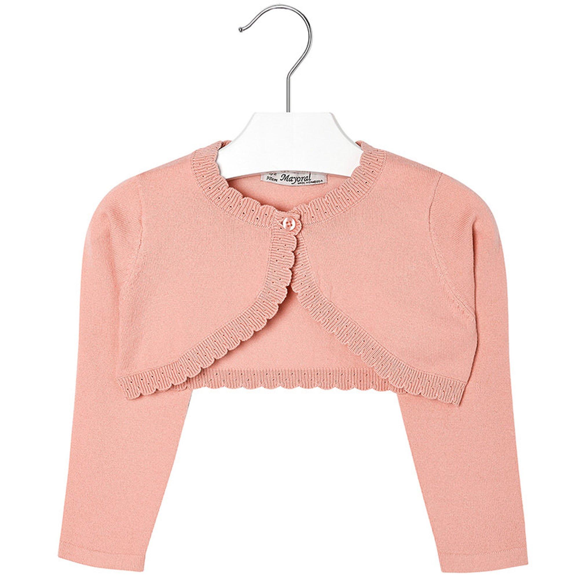 Mayoral Girls 2T-9 Papaya-Orange Scallop Edge Knit Shrug Cardigan Sweater, Papaya,2