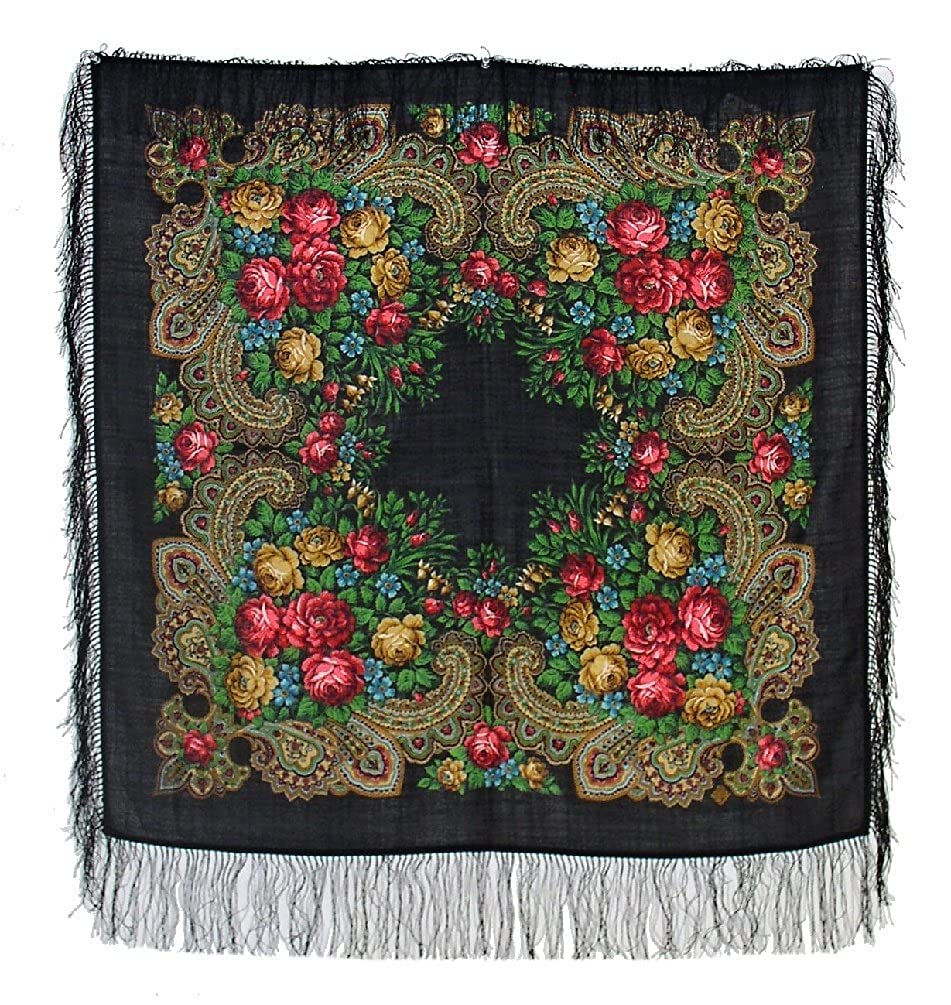 Pavlovoposadskiy Platok Women's Russian Wool Shawl With Silk Fringes 89s-077918