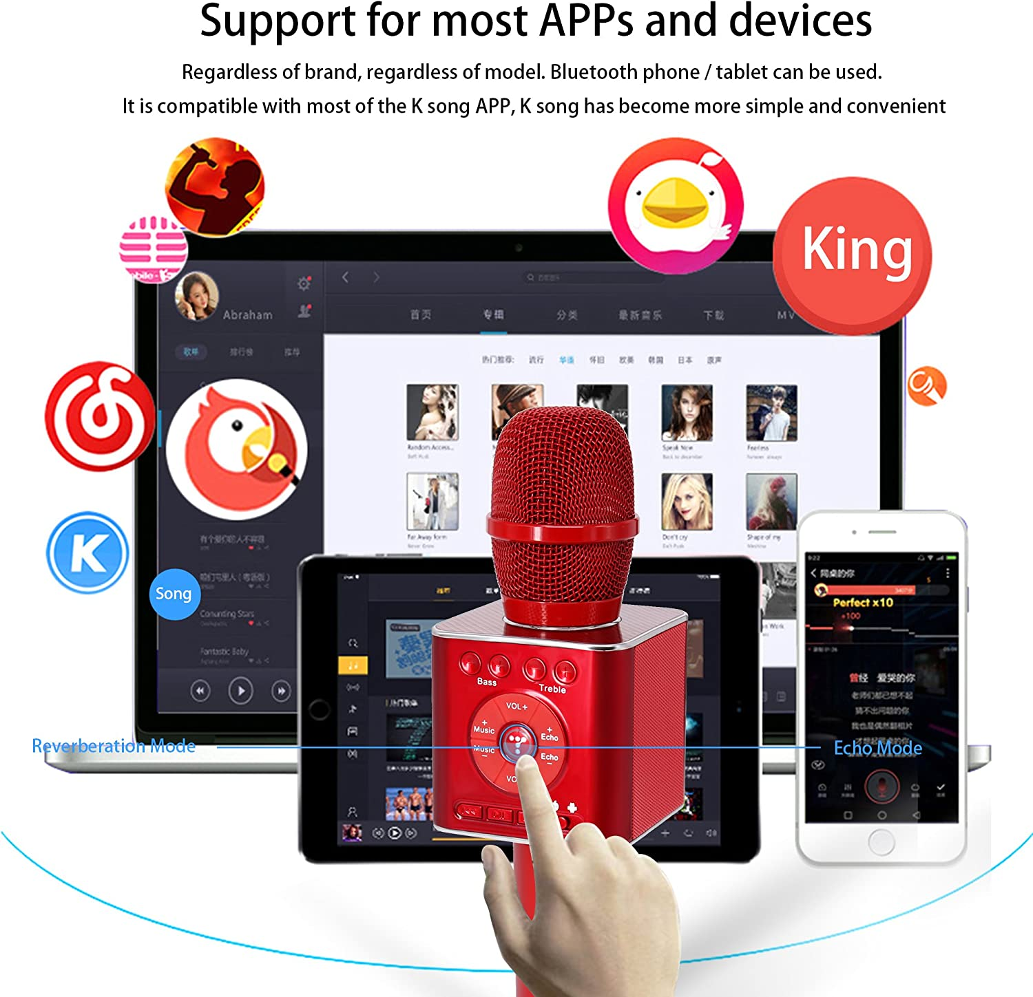 TOSING 04 Portable KTV Player for iOS//Android Smartphone//Tablet,Wireless Karaoke Microphone Bluetooth Speaker 2-in-1 Handheld Sing /& Recording Red