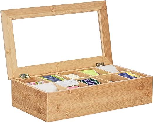 Relaxdays Caja para té e infusiones, 10 Compartimentos, Grande, Multi-usos, Sostenible, Transparente, Bambú, Marrón: Amazon.es: Hogar