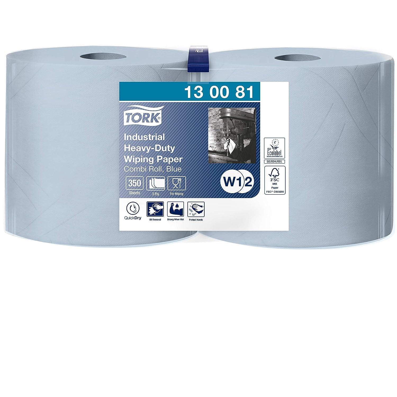 Tork 130081 Papel de secado extra fuerte para la industria/2 paquetes/3 capas/Paños de papel compatibles con el sistema W1 y W2/Premium/2 bobinas x 119 m de largo/azul, 2 x 119 m
