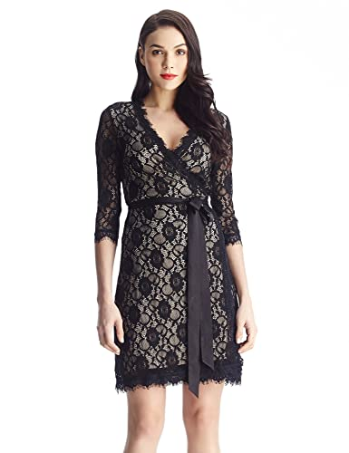 Grapent Women's Wrap Lace 3/4 Sleeves Midi Business Formal Dress Black Apricot