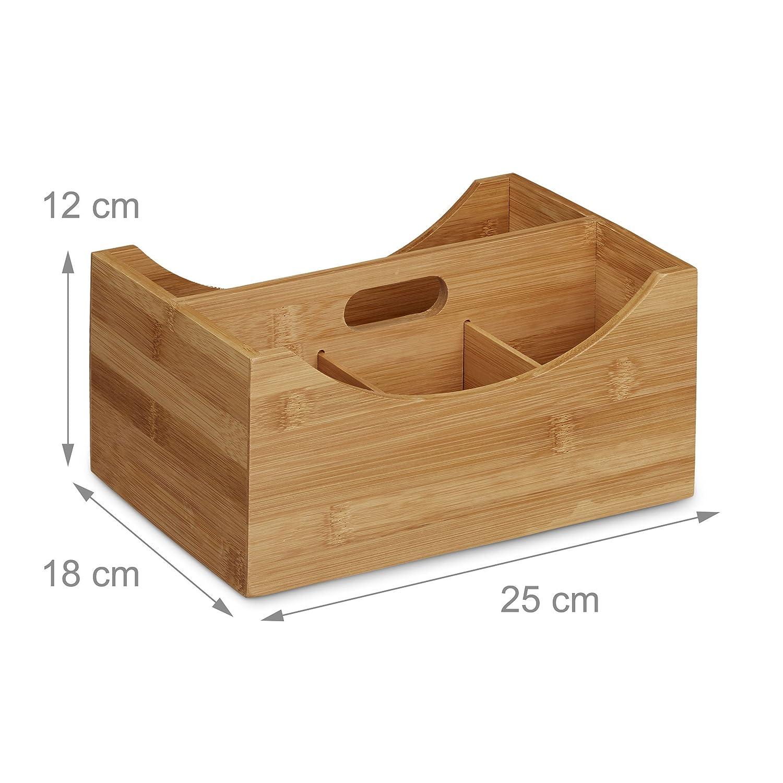 HxBxT: ca Stifteköcher natur Stifteköcher 4 Fächer natürliche Maserung 10020543 Relaxdays Schreibtischorganizer Bambus 4 Fächer Griff 12 x 25 x 18 cm natürliche Maserung
