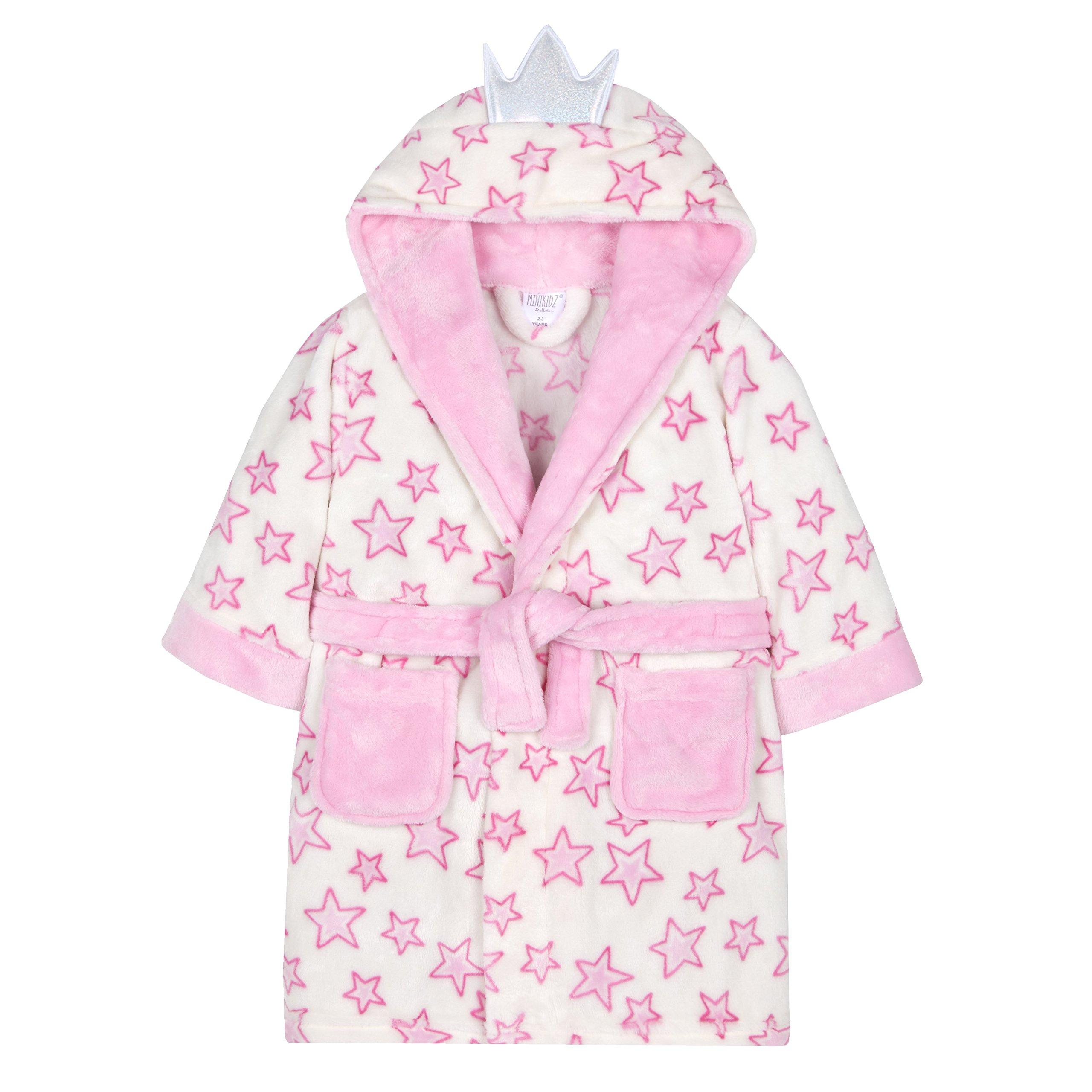 MiniKidz Girls Plush Fleece Fairy Princess Dressing Gown Cream 2-3 Years