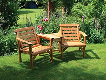 Gentil HGG Rustic Wooden Loveseats   Companion Seats   Tete A Tete Seats   Outdoor  Patio