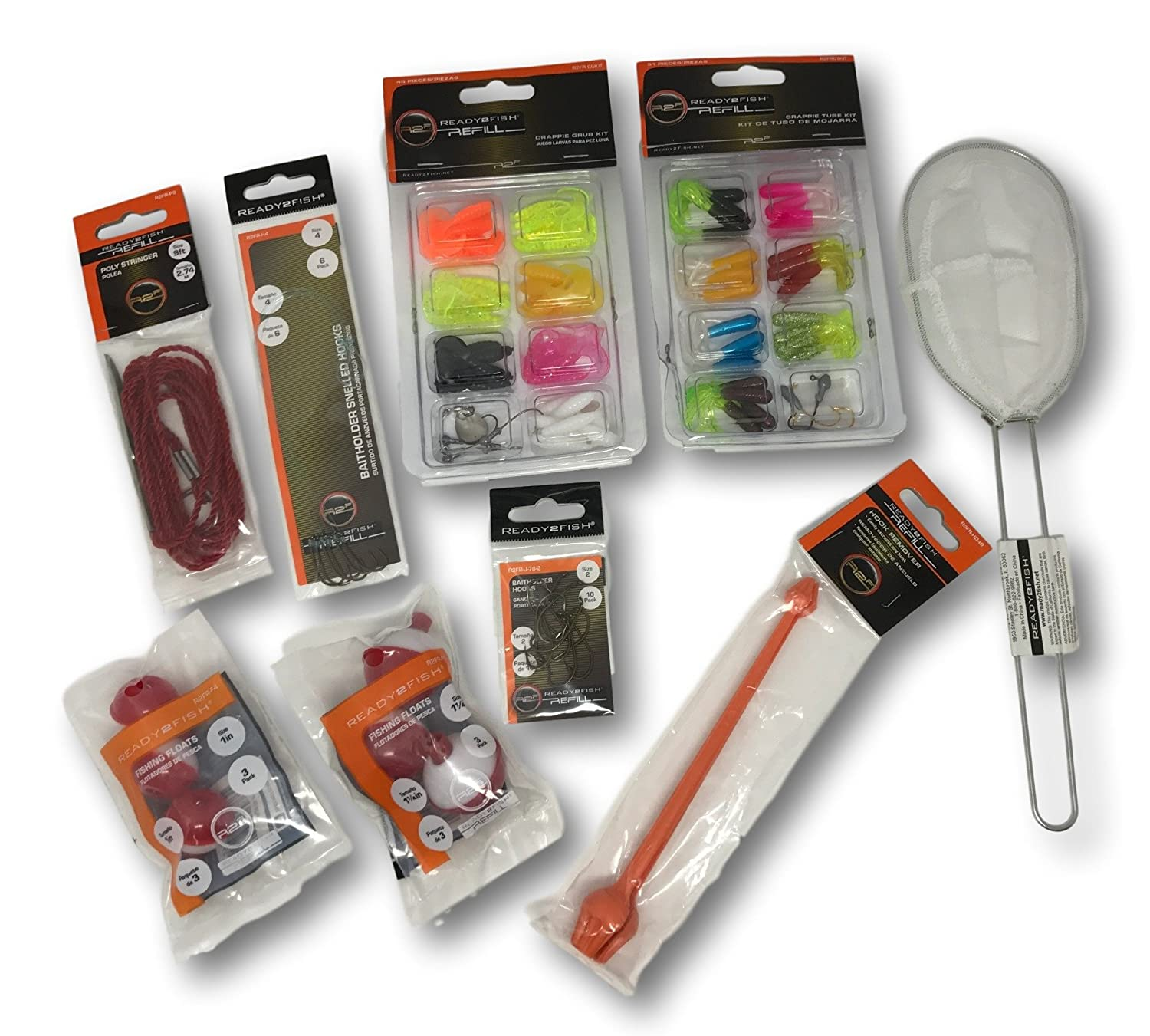 Amazon.com : Fishing Crappie Grub and Tube Kit, Hook Remover, Fishing Floats, Bait Holder Hooks, Snelled Hooks, Minnow Net, and Poly Stringer 110 Piece ...