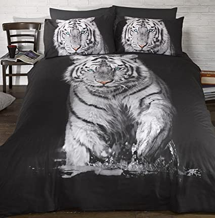 Tiger Animal 3d Hd Print Black Gold Quilt Duvet Cover Bedding Set