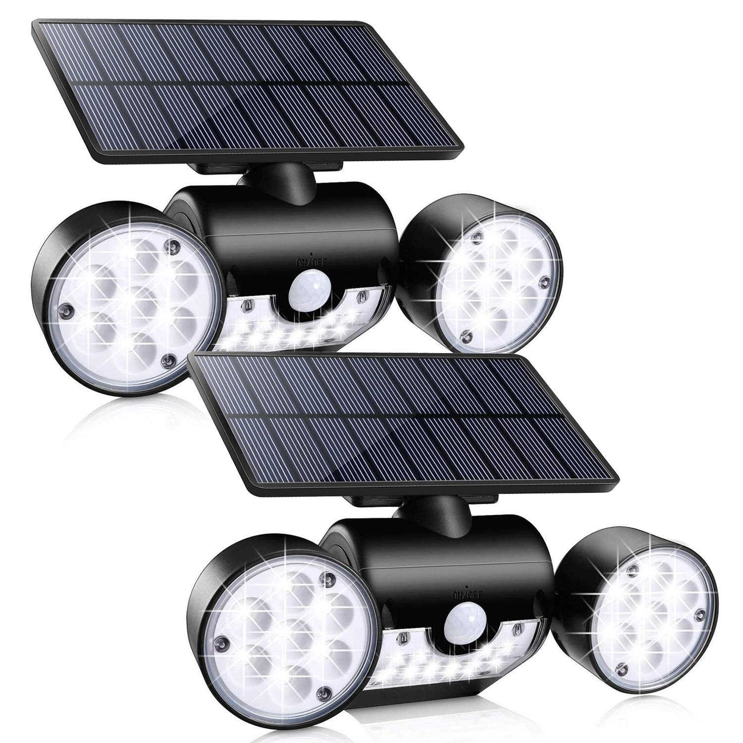 Outdoor Solar Lights, Ollivage 30 LED Solar Security Lights with Motion Sensor Dual Head Spotlights IP65 Waterproof 360° Adjustable LED Solar Motion Lights for Front Door Garage Patio Deck, 2 Pack by Ollivage