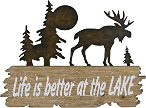Carina's Collection Rustic Moose Metal and Solid Wood Wall Decor - Life is Better at The Lake.