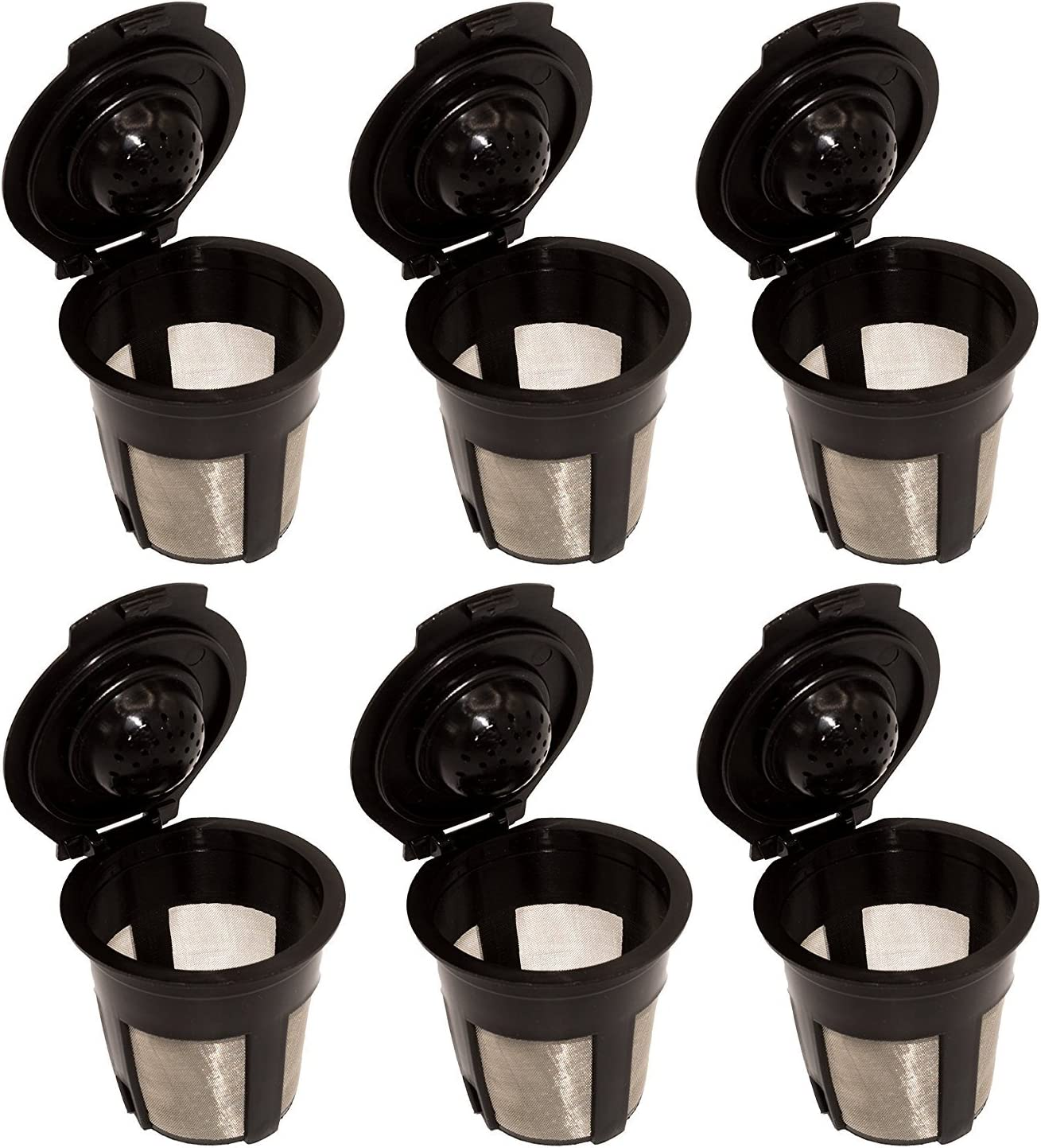 CDFD 6PCS Reusable Coffee Capsules Cup with Spoon Brush Black Refillable Coffee Capsule Refilling Filter Coffeeware Gift