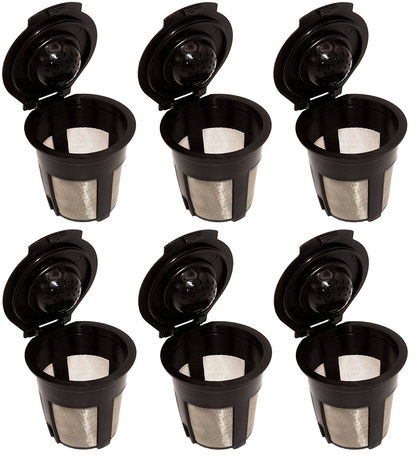 Blendin 6 x Single Reusable Refillable Coffee Pod Filters Compatible with Keurig 1.0 K Cup Coffee Makers