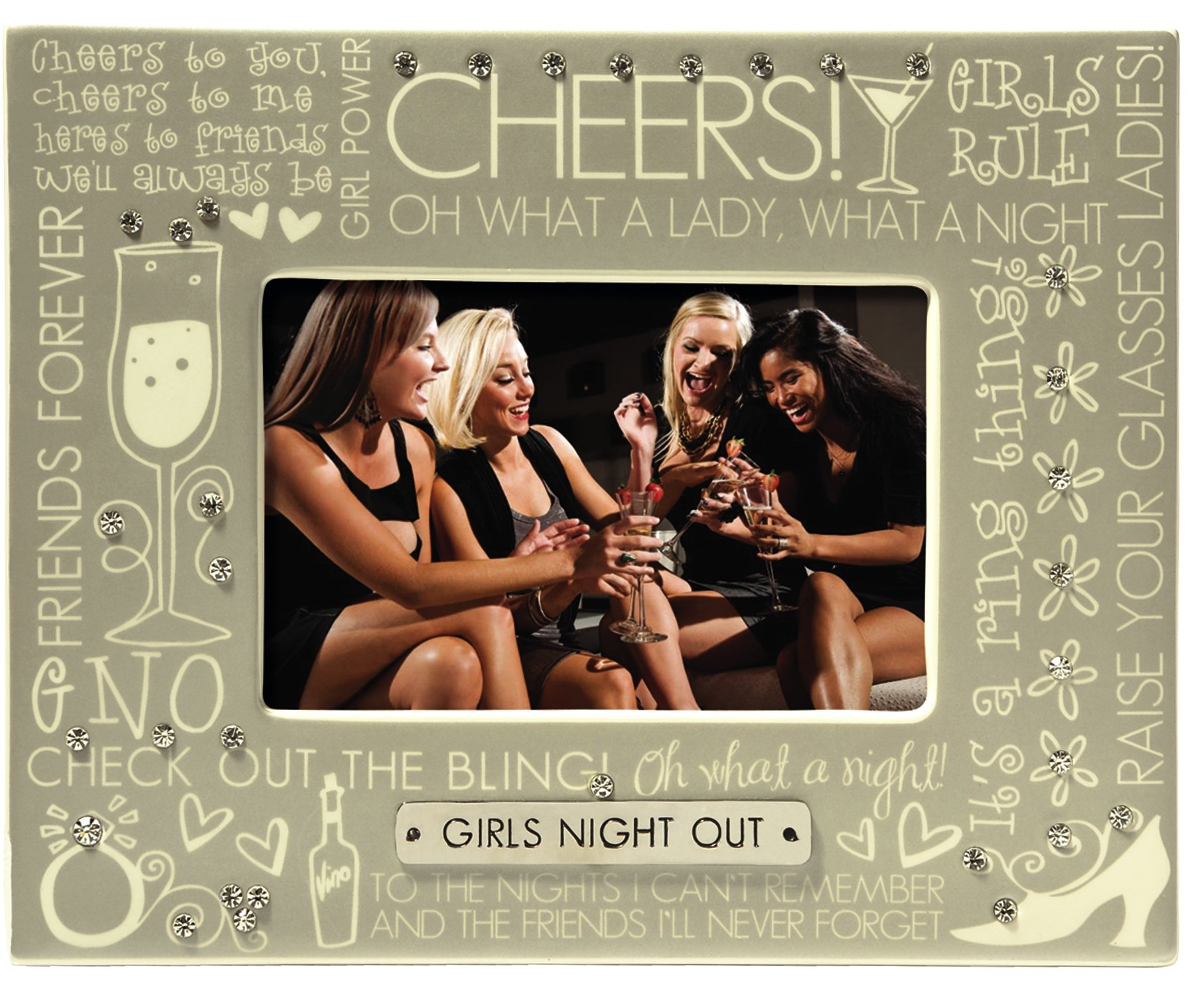 Grasslands Road ''Girls Night Out'' Photo Frame, 4 by 6-Inch, Creme, Ceramic, Gift Boxed