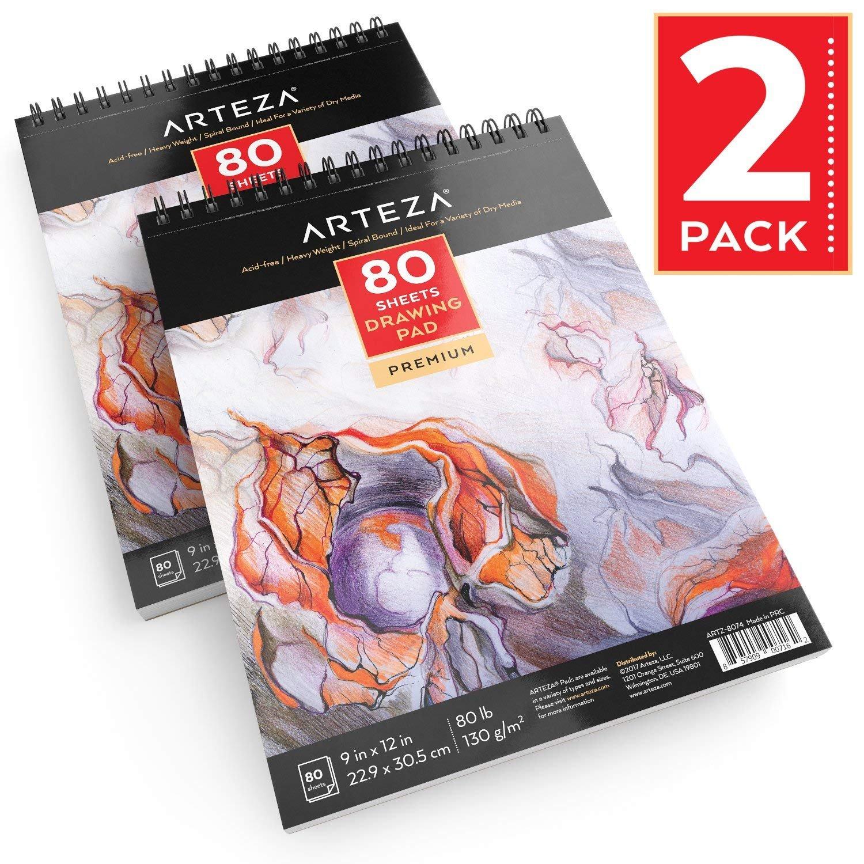 Arteza Zeichenblock — Malblock mit Spiralbindung — Weißes Din A4 Zeichenpapier — 80 Blätter 2er-Set ARTZ-8075