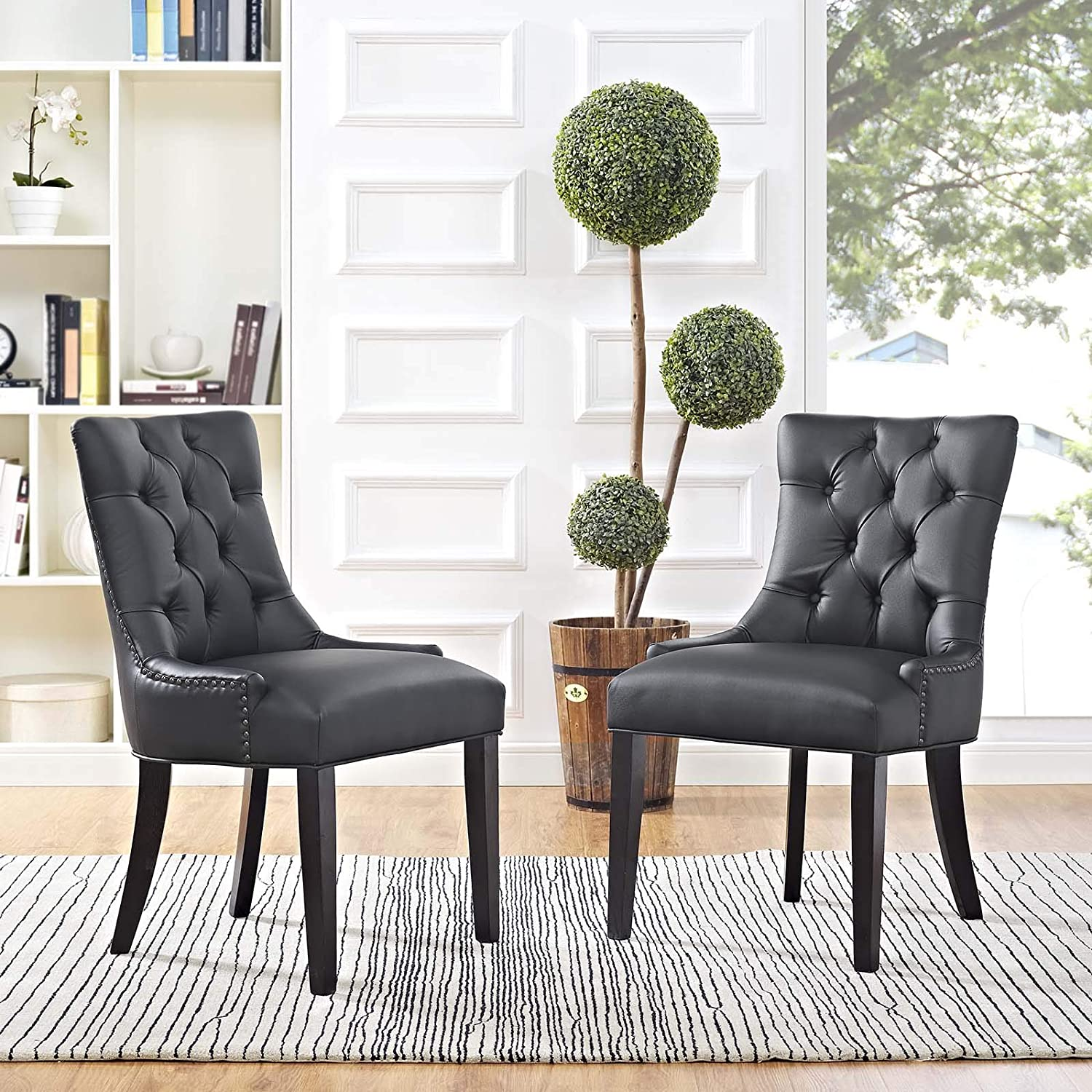 Modway Regent Modern Tufted Faux Leather Upholstered Two Kitchen and Dining Room Chairs with Nailhead Trim in Black