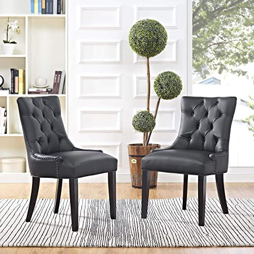 Modway Regent Modern Tufted Faux Leather Upholstered Two Dining Chair