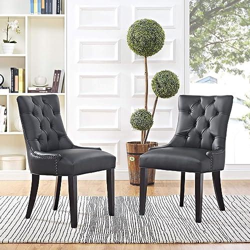 Modway Regent Dining Side Chair Vinyl Set of 2, Two, Black
