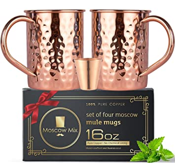 100/% Copper Moscow Mule Mugs Set /(16 oz/) - Heavy Weight