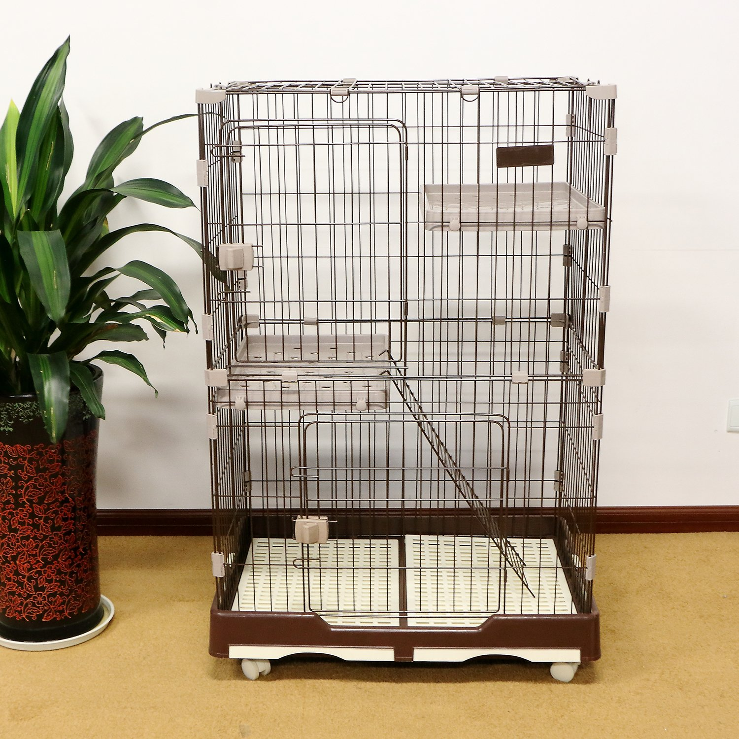 """PANEY 48"""" H Folding Cat Home 3 Level Cat Cage 2-Door Collapsible Pet Wire Crate Cat Playpen w/ Rest Benches Ladder & Tray"""