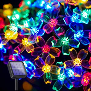 suddus 26.3ft 2 Pack 50 LED Flower Blossom Solar String Lights, Solar Powered Cherry Blossom Sakura Lights, 8 Modes, Multicolor for Christmas Outdoor Decoration