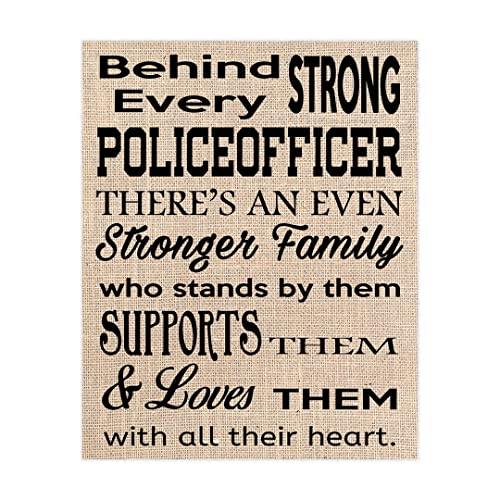 Police Officer Quote on Burlap, \