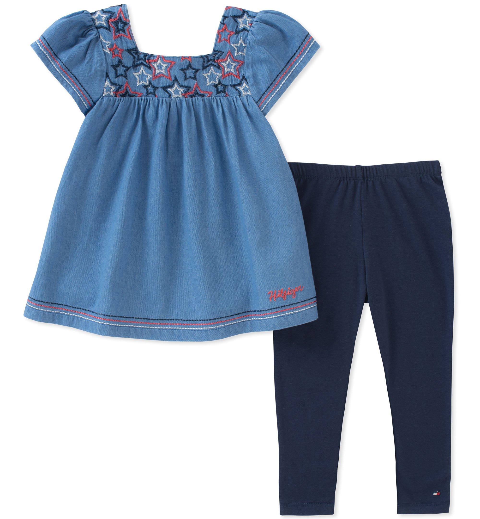 Tommy Hilfiger Toddler Girls' Tunic Set, Twinkle Blue/Navy, 3T
