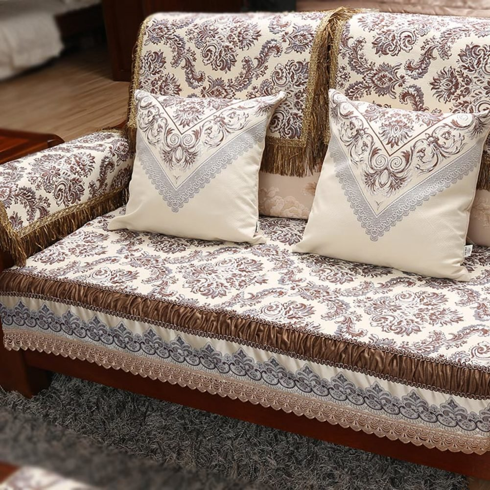 DHWJ Contemporary Chinese Sofa Cushions Luxury Sofa Towel Solid Wood Sofa Cushion-A