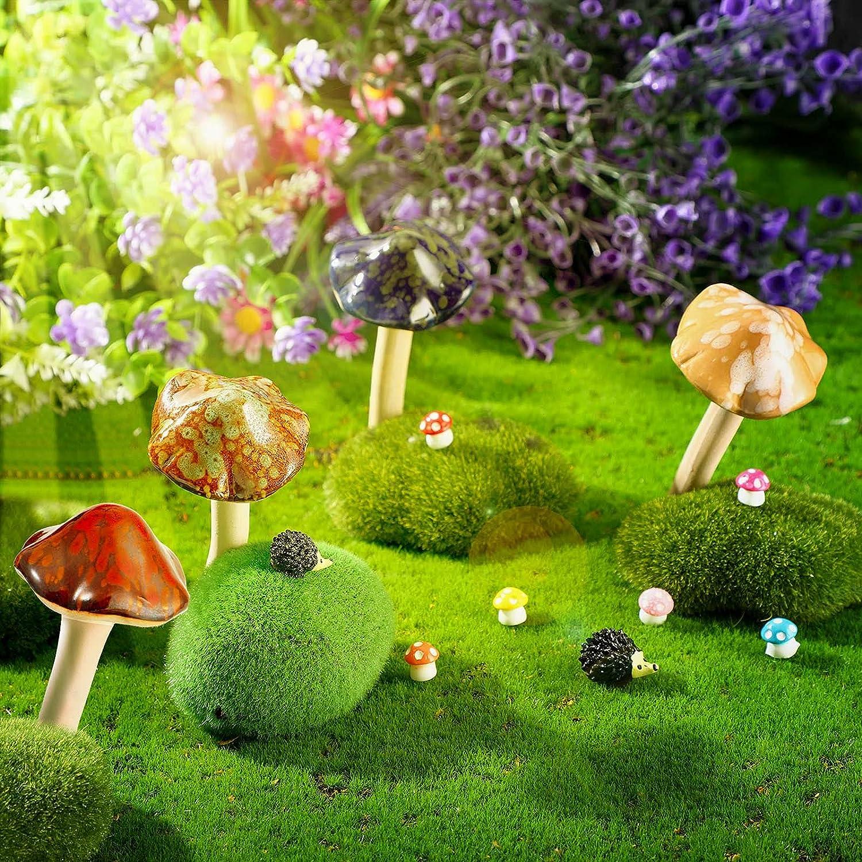 12 Pieces Garden Decor 4 Ceramic Mushrooms 6 Mini Resin Mushrooms 2 Mini Hedgehog Figurine Pottery Mushrooms Lawn Ornament Set for Fairy Mini Garden Plant Pot Garden Indoor Outdoor Decor