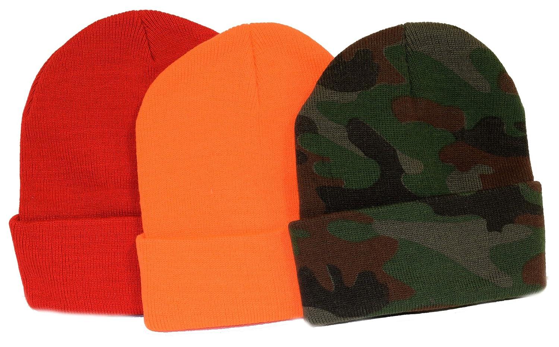 3 - Pack 。/ニットビーニー/The Safeハンター/オレンジ、迷彩、と赤   B002ZQ4S46