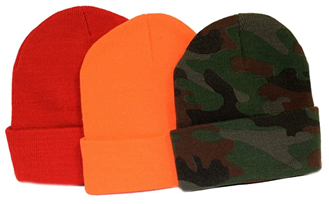 94b3fef8e 3-pack! / Knit Beanies / The Safe Hunter / Orange, Camo, and Red