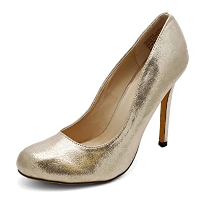 Ladies Gold Slip-On High Heel Elegant Wedding Prom Court Smart Shoes Sizes 3-