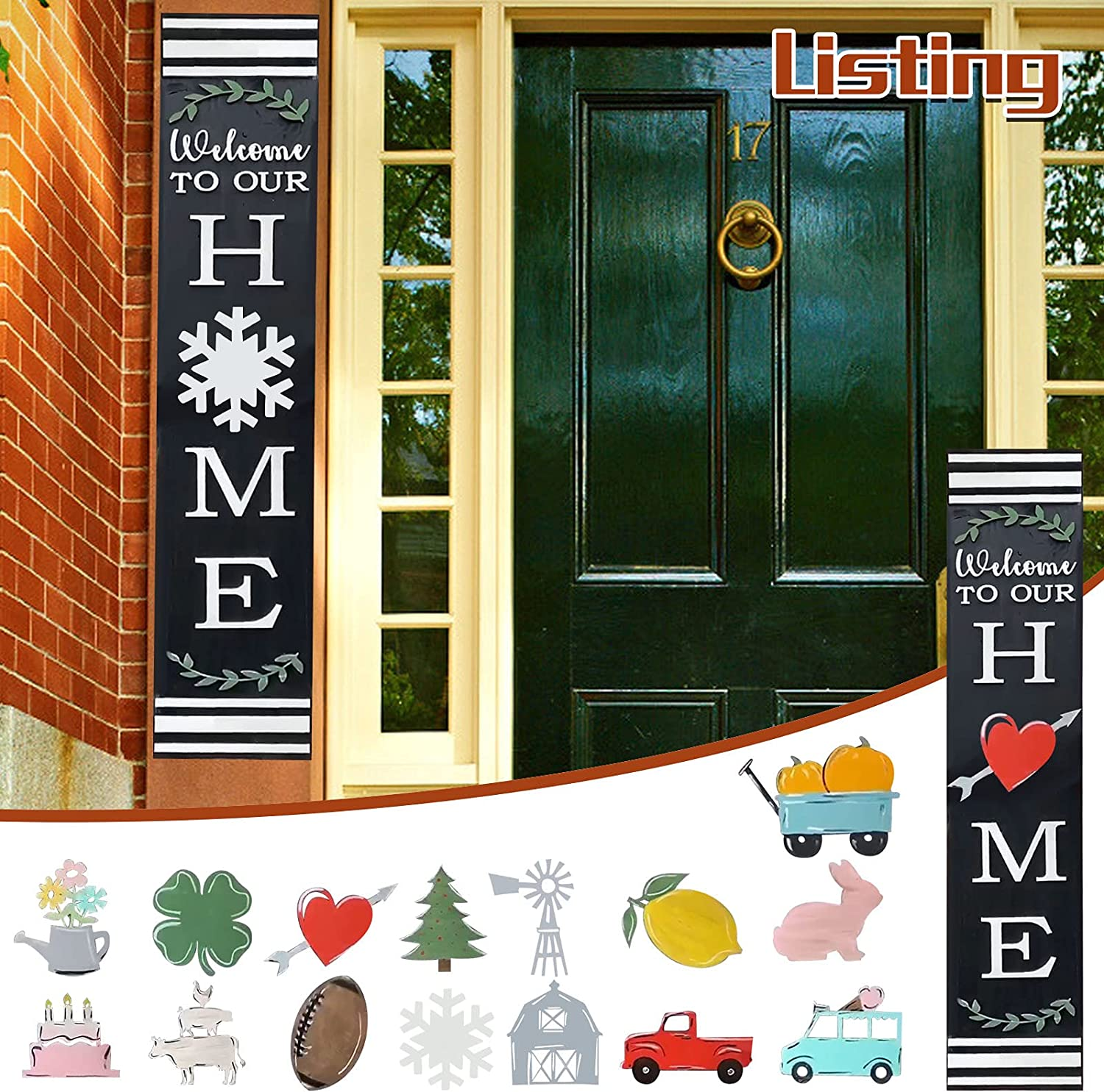 Painted Home Leaner, wellcome to our home Interchangeable Leaner Welcome Sign Front Door Hanger Rustic Wooden Door Hangers Front Porch Decor Hanging Vertical Sign Porch Decorations for Housewarming (A)