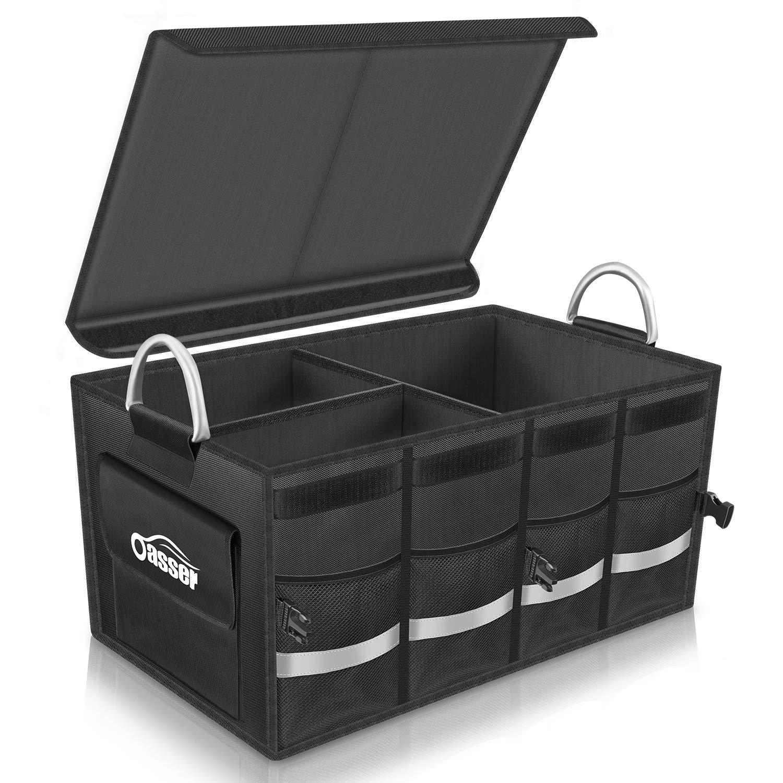 Oasser Trunk Organizer Cargo Organizer Trunk Storage Organizer with Foldable Cover Aluminium Alloy Handle Reflective Stripe by Oasser (Image #1)