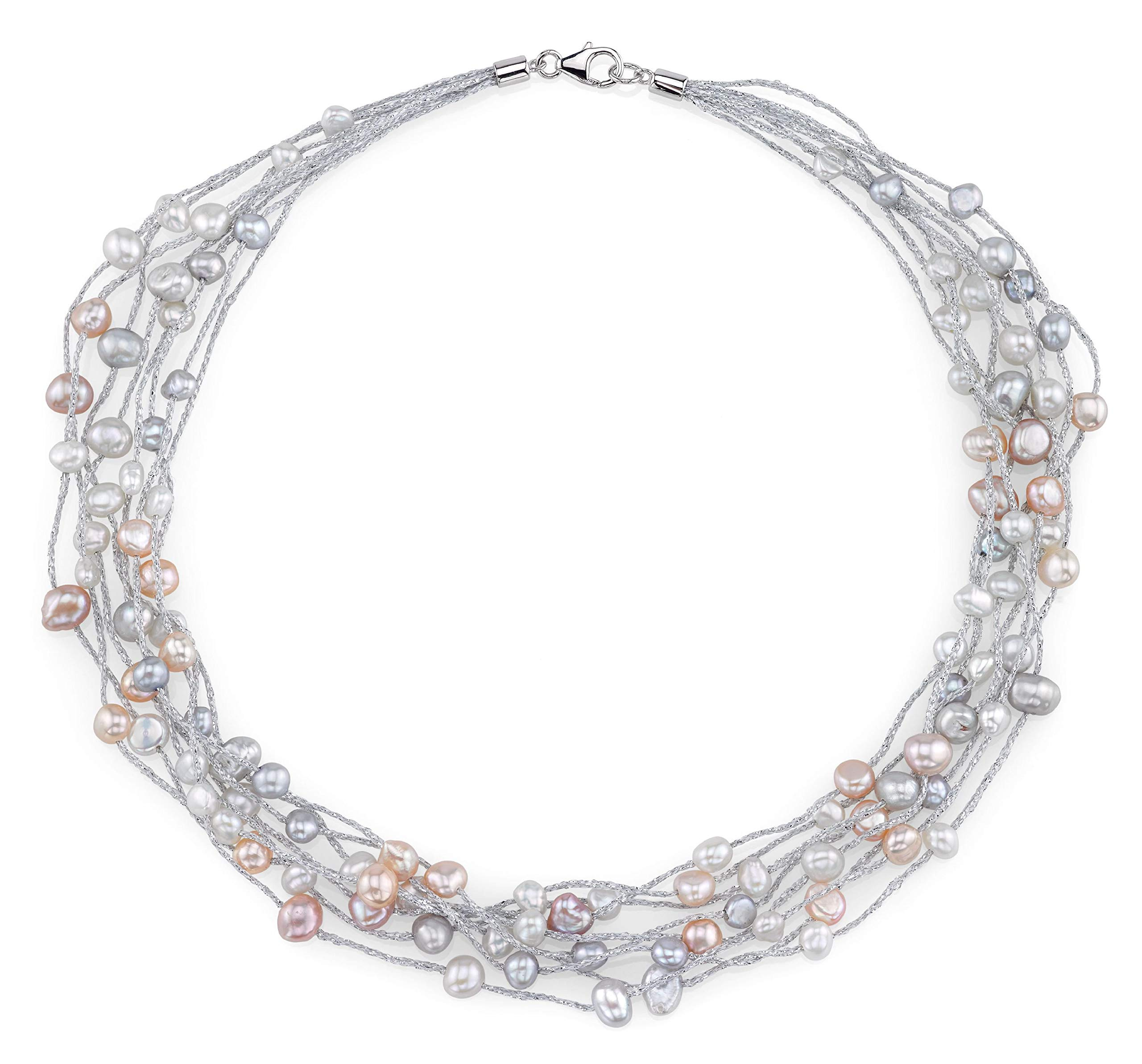 THE PEARL SOURCE 4-5mm Genuine Multicolor Freshwater Cultured Pearl Lilly Necklace for Women