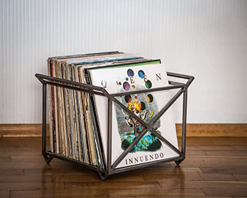 Amazon Com 12 Vinyl Lp Record Storage Metal Crate With Two