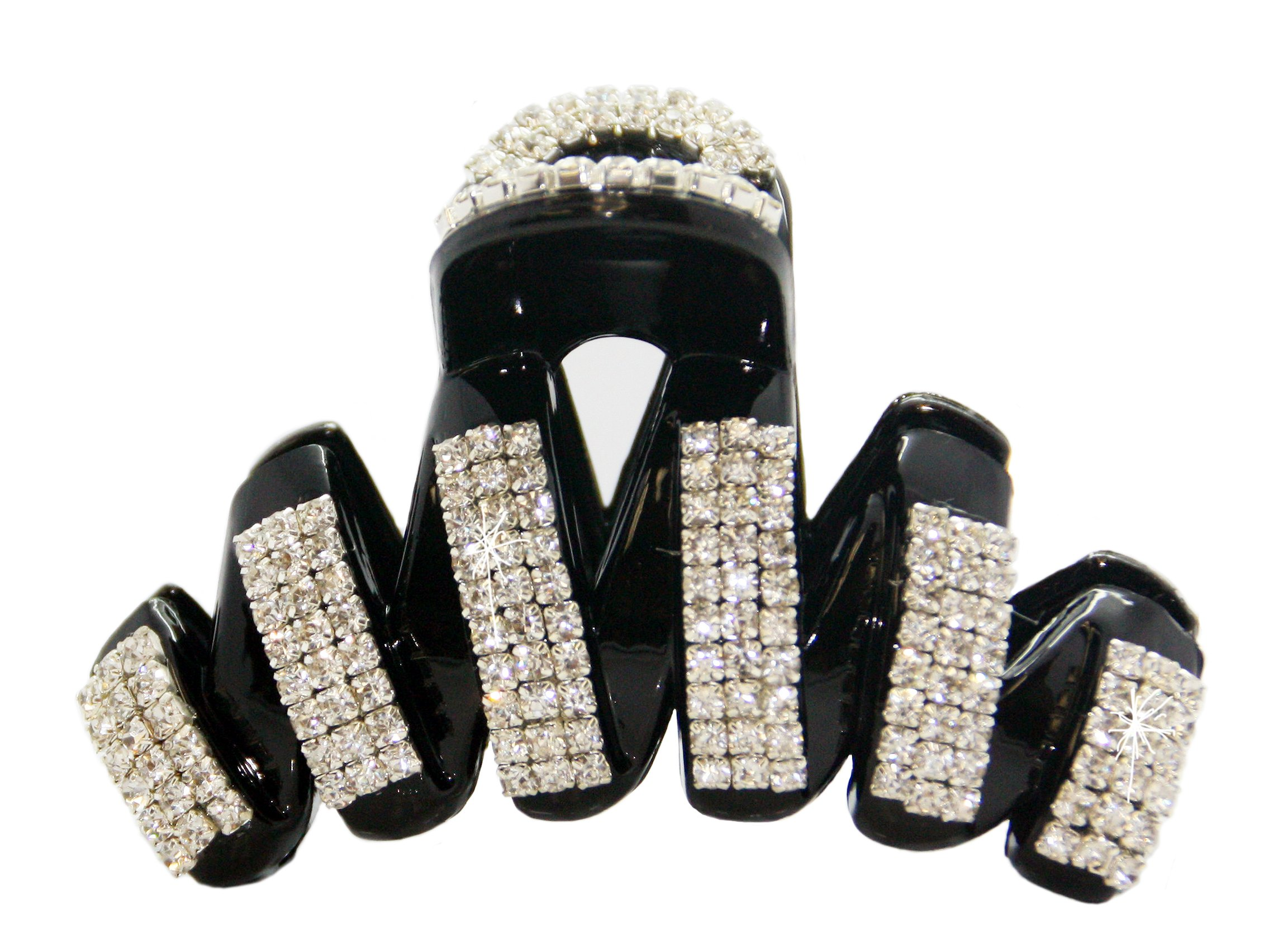 VANVENE Elegant Style Large Fancy Good Quality Rhinestones Claw Clip Jaw Clips For Thick Hair (black) by VANVENE