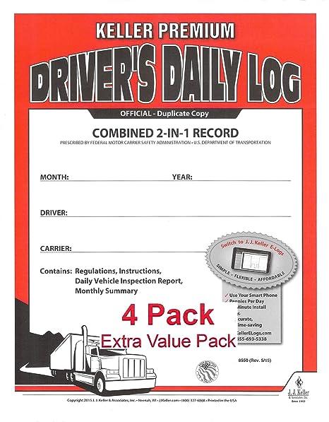 JJ Keller 8550 (605L) 2-In-1 Driver's Daily Log Book w/Detailed DVIR,  2-Ply, w/Carbon, No Recap - Pack of 4