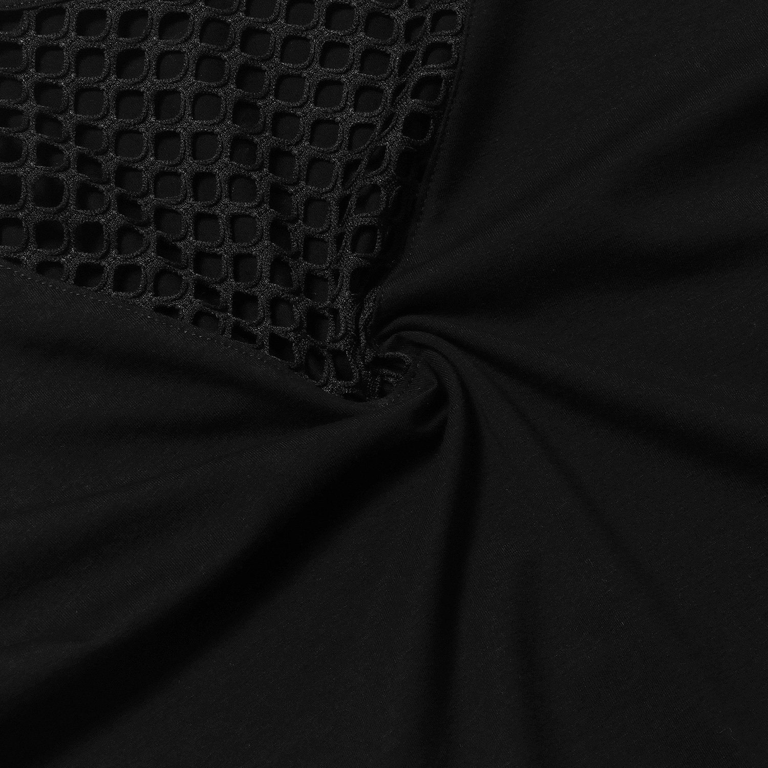 short sleeve crop tops for women Black Large by Perfashion (Image #7)