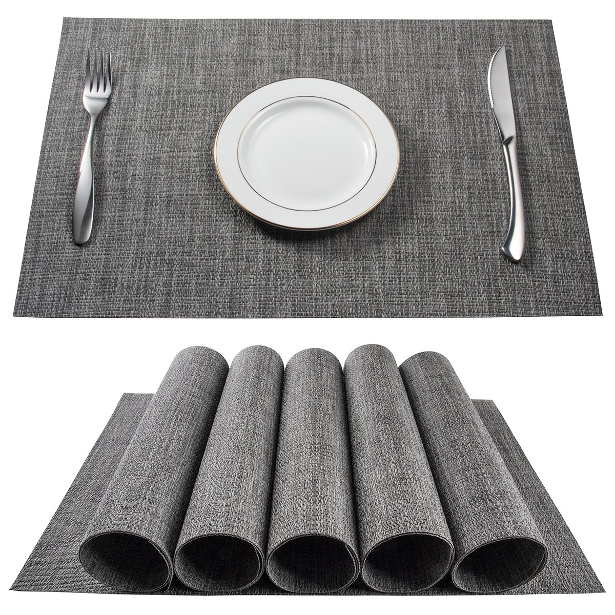BETEAM Placemats, Heat-resistant Placemats Stain Resistant Anti-skid Washable PVC Table Mats Woven Vinyl Placemats, Set of 6 (Grey)
