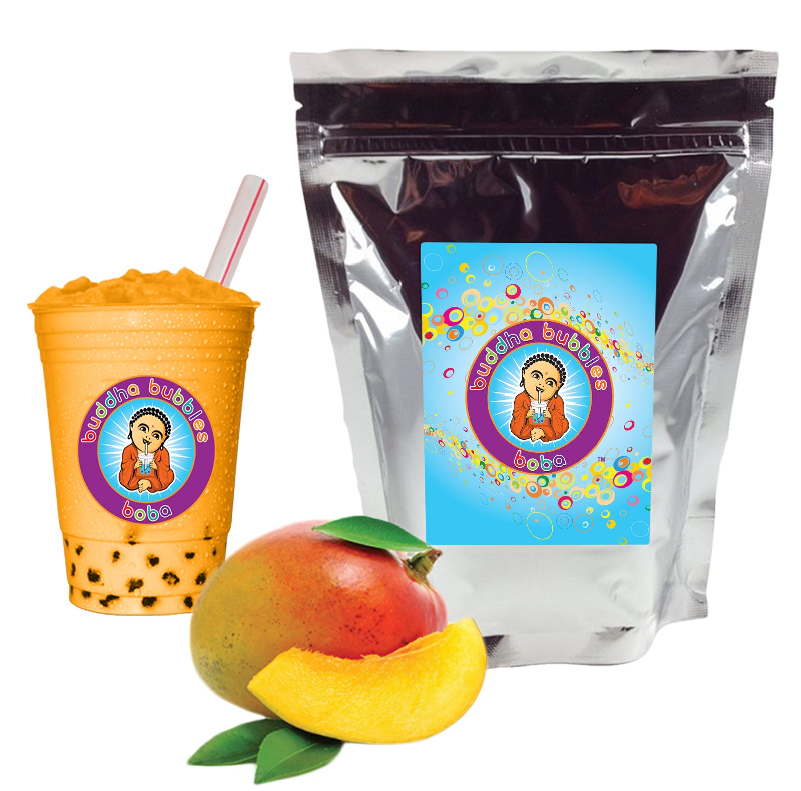 NEW TASTE ! Mango Boba / Bubble Tea Drink Mix Powder By Buddha Bubbles Boba 1 Kilo (2.2 Pounds) | (1000 Grams) by Buddha Bubbles Boba LLC
