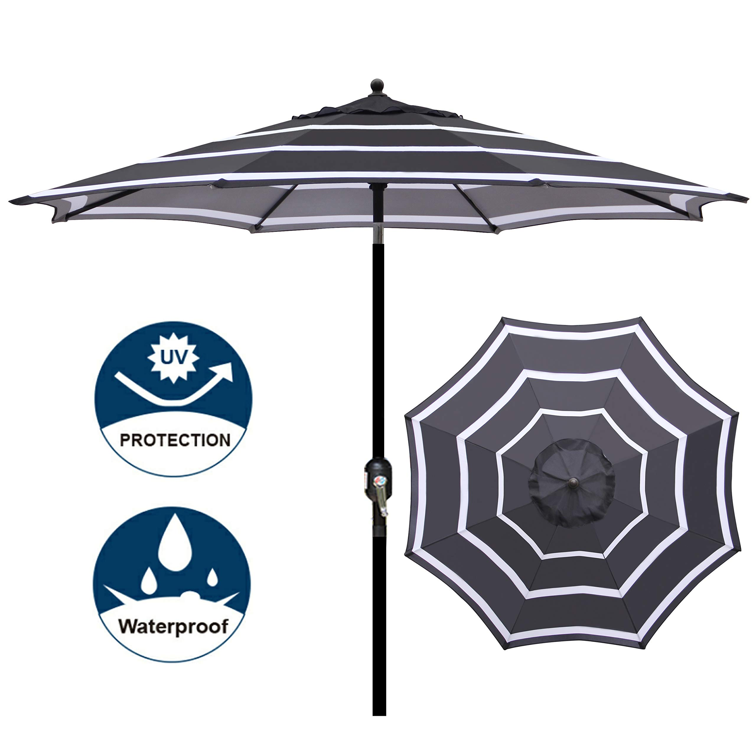 Blissun 9' Outdoor Aluminum Patio Umbrella, Market Striped Umbrella with Push Button Tilt and Crank (Black & White) by Blissun