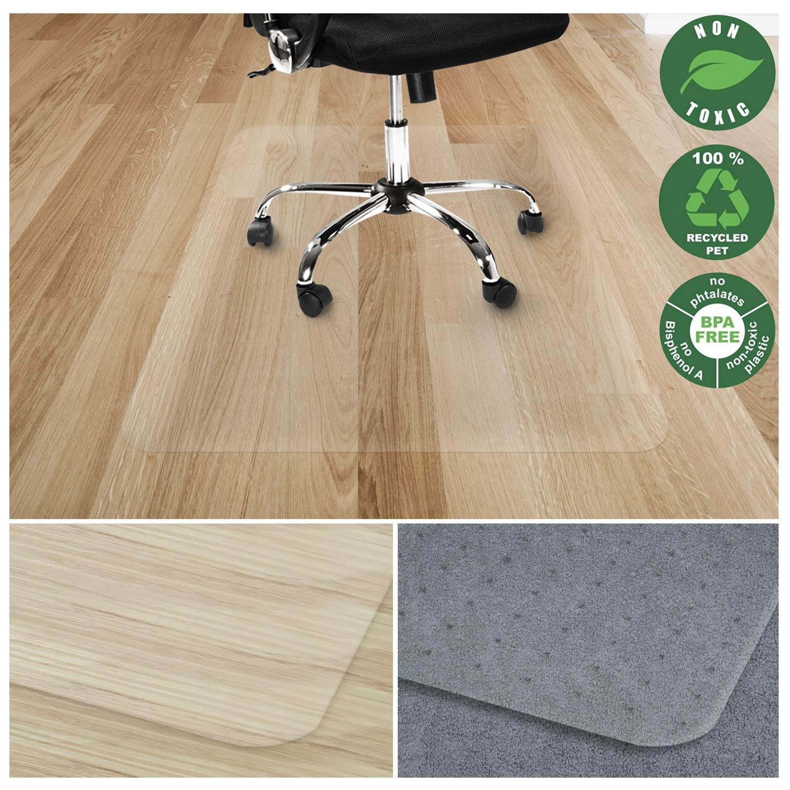 Office Marshal Chair Mat for Hard Floors   Eco-Friendly Series Chair Floor Protector   100% Recycled (PET) Floor Mat for Office or Home Use   Multiple Sizes   Translucent - 40'' x 48'' by Office Marshal