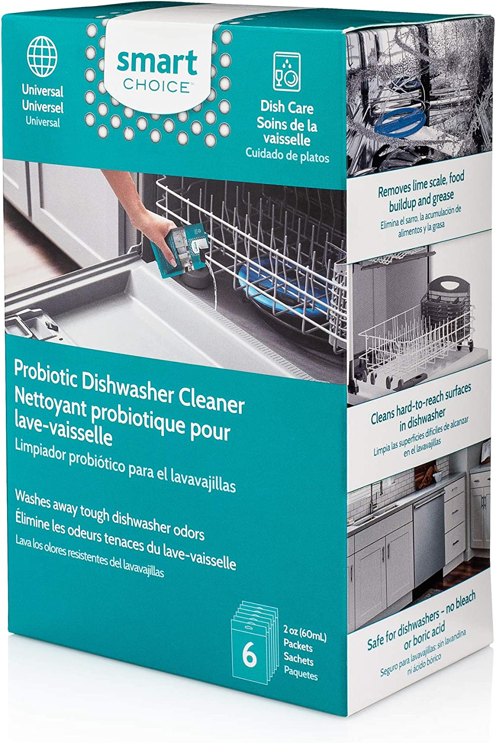 Smart Choice 10SCPROD02 Dishwasher Cleaner, Six Pack, 6 Packets